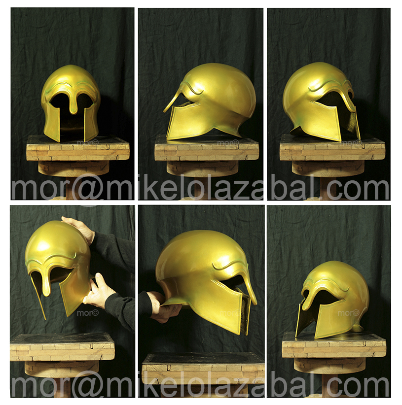cast corinthian style greek helmet cast